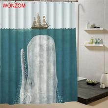 цена на WONZOM 1Pcs Whale Waterproof Shower Curtain Panda Bathroom Decor Cat Decoration Animal Cortina De Bano 2017 Bath Curtain Gift