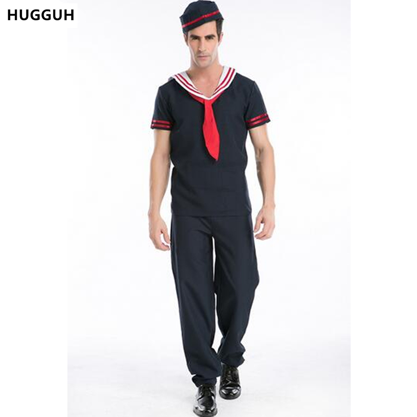 hugguh brand new navy blue male clothes soldier cosplay halloween costume role play warrior mens clothing hot sale h15842