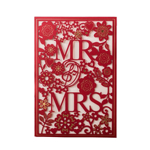 50pcs MR & MRS Right Red Wedding Invitation cards Laser Cut Hollow Lace Invites Engagement Card invitations