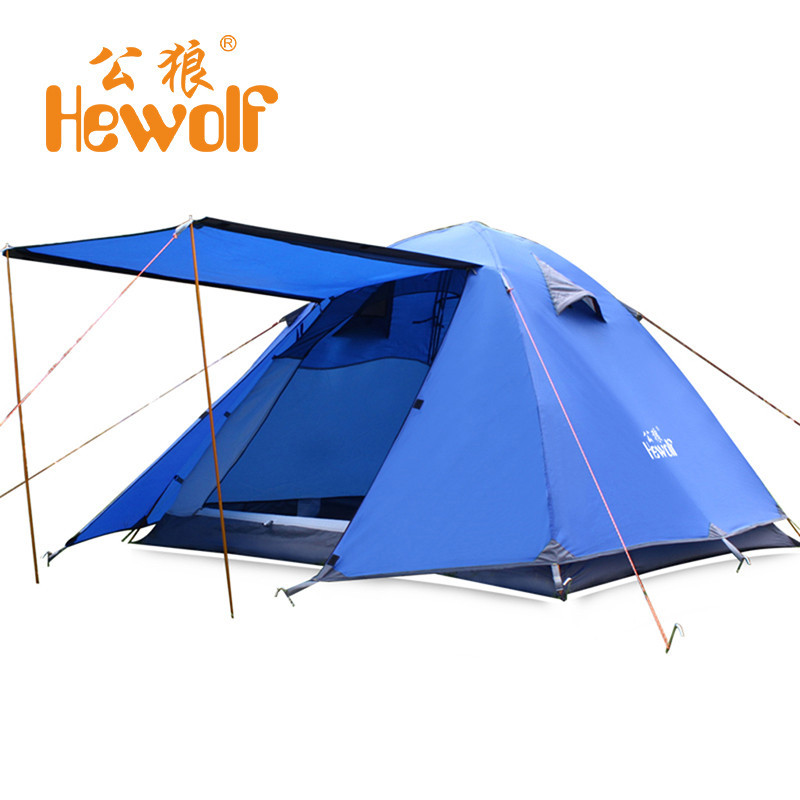 (Shipping From Russia) Hewolf 3-4 PersonDouble Layer Tent Super Strong Rainproof Outdoor Camping Tent for Hiking Fishing hewolf 2 persons tent mosquito net double layer rainproof outdoor tourist camping tent for hiking fishing hunting dhl free