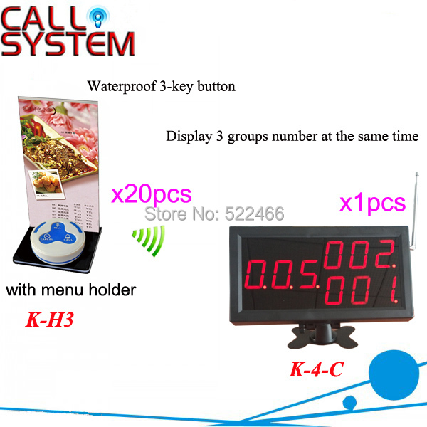 Restaurant Calling System in 433.92MHz with 20pcs table buttons and 1 number display; DHL shipping free