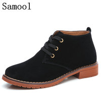 2018 Winter Spring Oxford Shoes Women Shoes Woman Cow Suede Martin Ankle Female Casual Shoes Flats