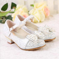 Beautiful Girls Princess Shoes 2018 New Spring Leather Children Dance Shoes Sandals High Heels Bowknot Wendding