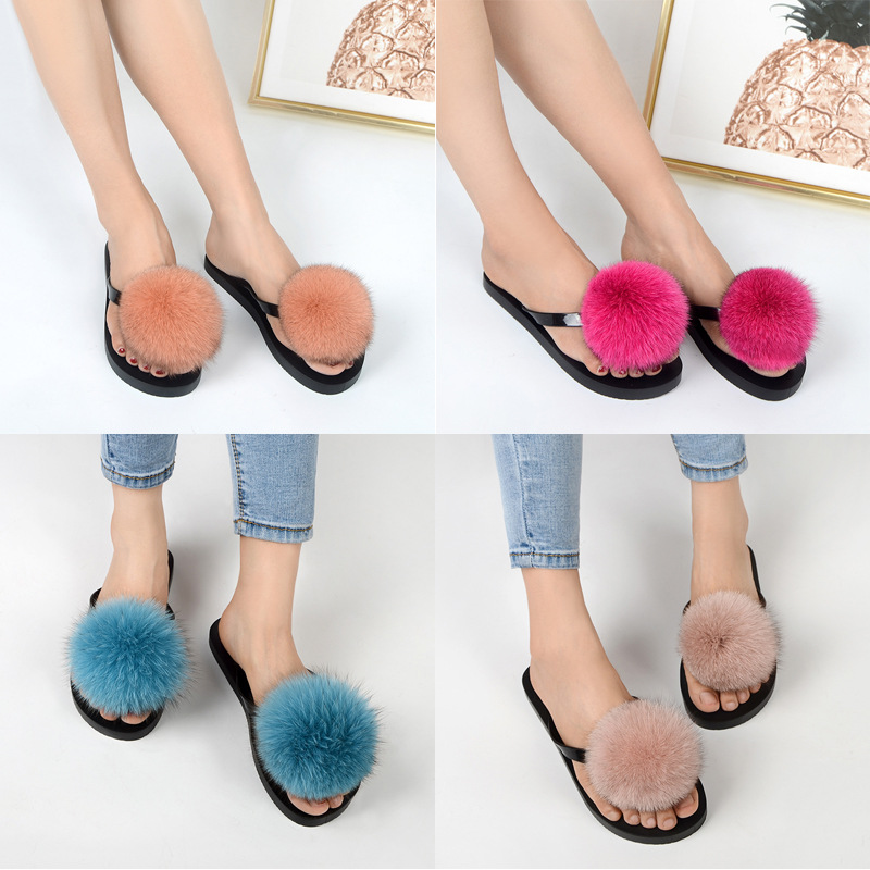 women slippers fox fur pompom (24)