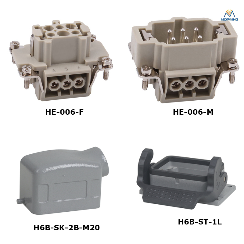 HE-006 A Whole set 16A 500V Heavy Duty electronic Connector 6 pins female male insert hood and housing whole set selling 16 folding mother