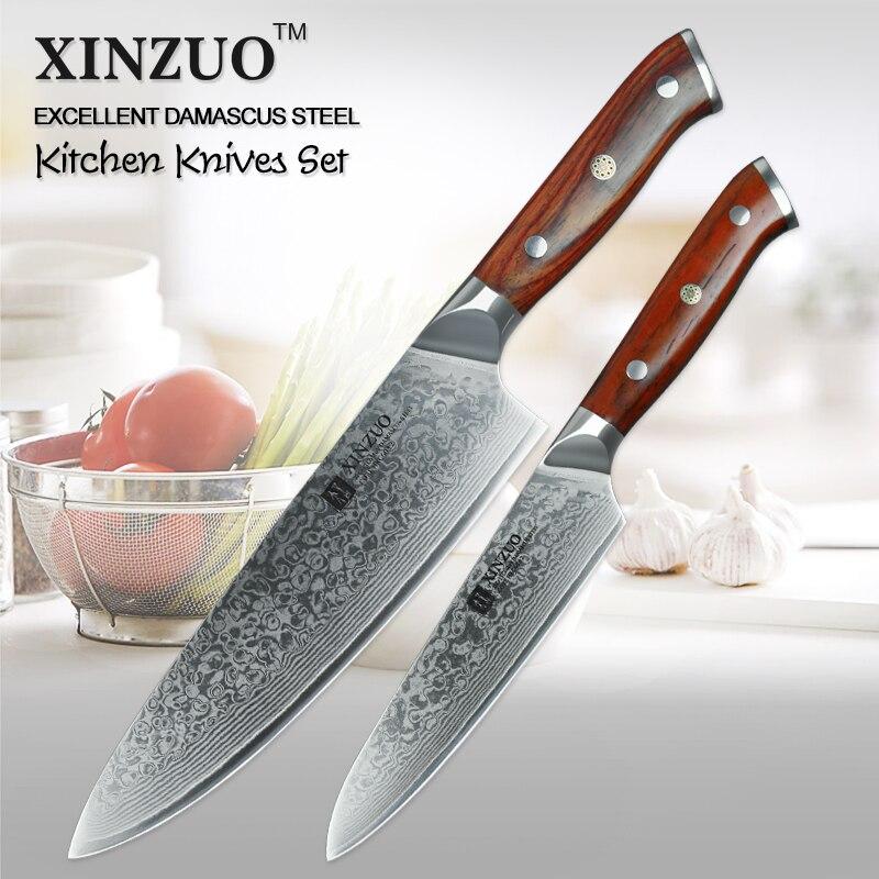 XINZUO 2 pcs Cuisine Ensemble De Couteau En Acier Damas Chef Cutter Pro Utilitaire Couteaux En Acier Inoxydable de Sharp Couverts avec Manche En Palissandre