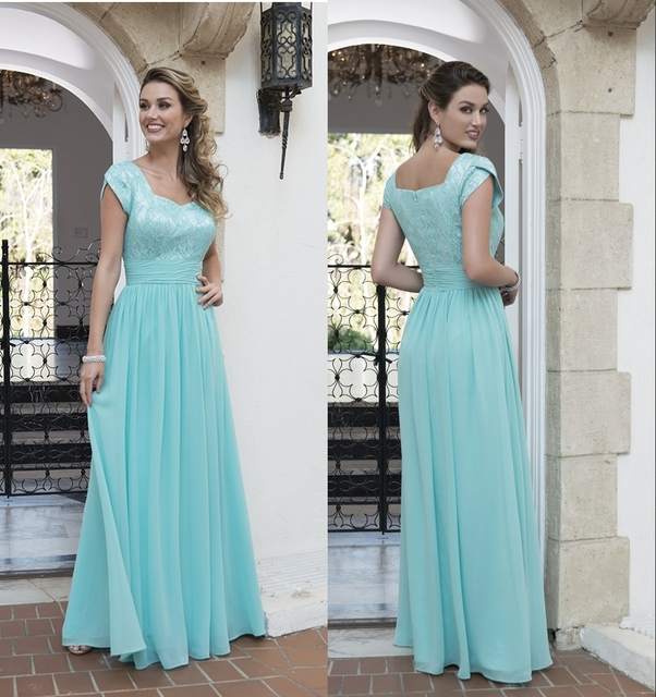2017 New Lace Chiffon Long Modest Bridesmaid Dresses With Cap Sleeves Mint  Green A-line Country Bridesmaids Dresses Custom Made acb5b1833e47