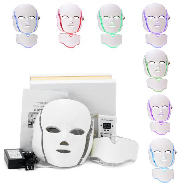 7 colore PDT Pelle Rejuvenatio LED Photon Maschera Per il Viso, viso Spa La Cura del Collo macchina di Trattamento di Bellezza Anti Acne Terapia Della Pelle Stringere