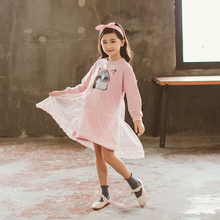 все цены на Teen Girls Autumn Dress 2018 Korean Style Mesh Dresses Children's Long-sleeved Princess Dress Cat Pattern Kids Clothes онлайн
