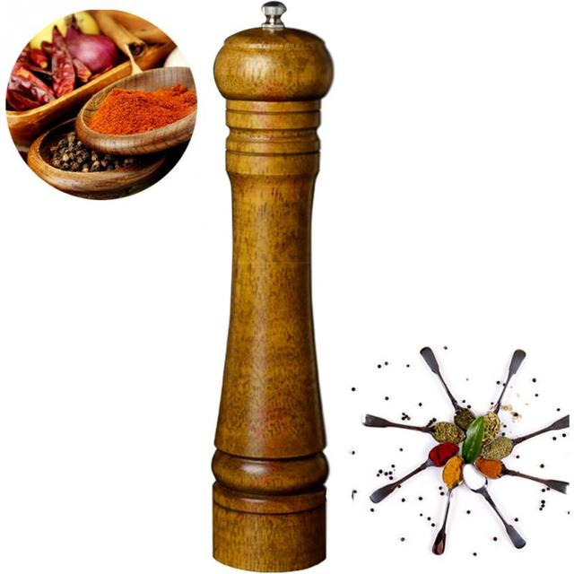 Classical Wooden Oak Pepper Spice Salt Corn Mill Grinder Muller 5/8/10 Inch