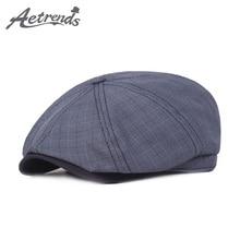 55173303c0d35  AETRENDS 2019 Primavera Verano de algodón a cuadros octogonal sombreros  para hombres de moda de