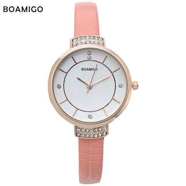 24504bc99c46 Boamigo mujeres relojes mujer vestido de cuarzo relojes señoras pulsera reloj  de moda delicado rhinestone cuero