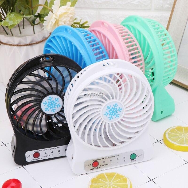 Portable Rechargeable LED Light Fan with Battery Air Cooler Mini Desk USB Fan US