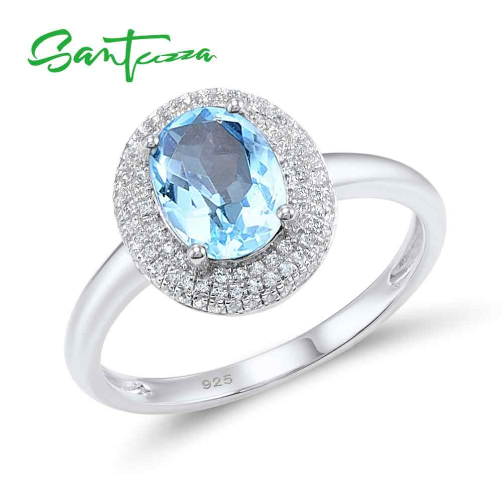 SANTUZZA Silver Rings for Women Engagement Wedding Ring Oval Sky Blue White CZ Pure 925 Sterling Silver Fashion Jewelry