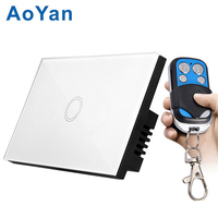 AoYan US Standard 2 Gang 1 Way Touch Switch Crystal Glass Panel LED Indicator Touch Screen