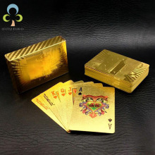 Одна колода золотой фольги Покер Евро Стиль Пластиковый покер игральные карты водонепроницаемые карты Хорошая цена азартные игры настольная игра GYH