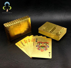 Um Baralho Poker Folha de Ouro Estilo de Euros Cartões de Plástico Jogando Cartas de Poker À Prova D' Água Bom Preço Placa Gambling jogo GYH