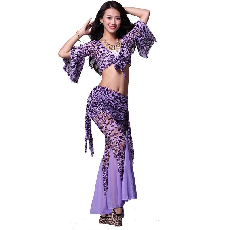 P Prido Belly Dance Costume Leopard Print Piece Set Top