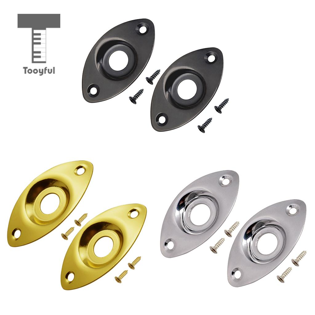 Tooyful 2pc Electric Bass Guitar Jack Output Input Socket Cover Plate with 2 Mounting Screws for Oval Style ...