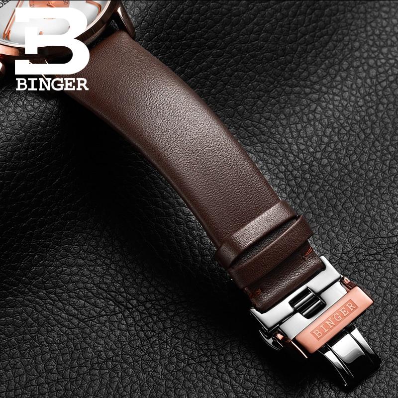 BINGER deporte reloj de cuarzo relojes para hombre marca de lujo cronógrafo de cuarzo de cuero de oro rosa reloj Relogio - 4