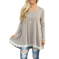 2017 New Autumn Women Casual Basic T Shirt Long Sleeve O Neck Patchwork Lace Loose High