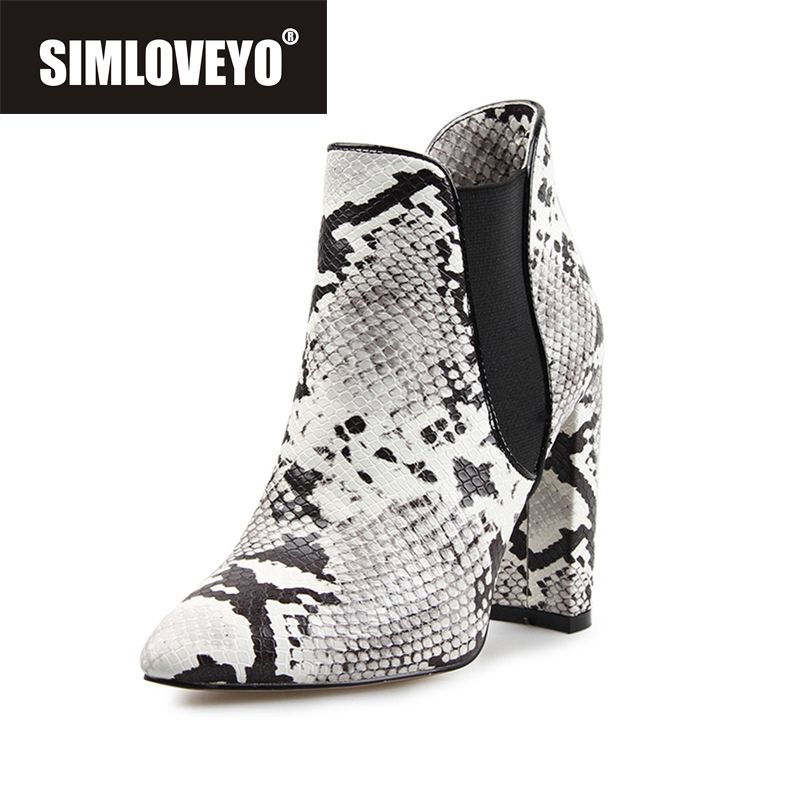 SIMLOVEYO New Hot women boots Snakeskin Elastic Slip on pointed toe Zip Thick heels spring autumn