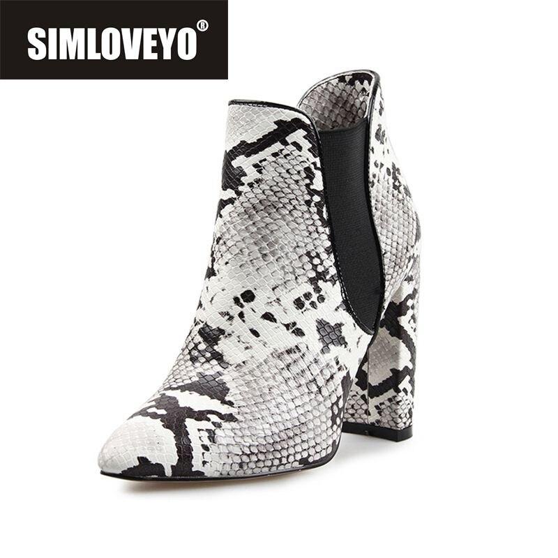 SIMLOVEYO 新ホット女性ヘビ革弾性スリップオンジップ厚いかかと春の秋のパーティー蛇行 bota ş ボッテ  グループ上の 靴 からの アンクルブーツ の中 1