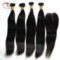 Indiano virgem do cabelo tece cor natural preto em linha reta 4 pcs cabelo humano e 1 pcs fechamento do laço do cabelo Indiano virgem transporte rápido