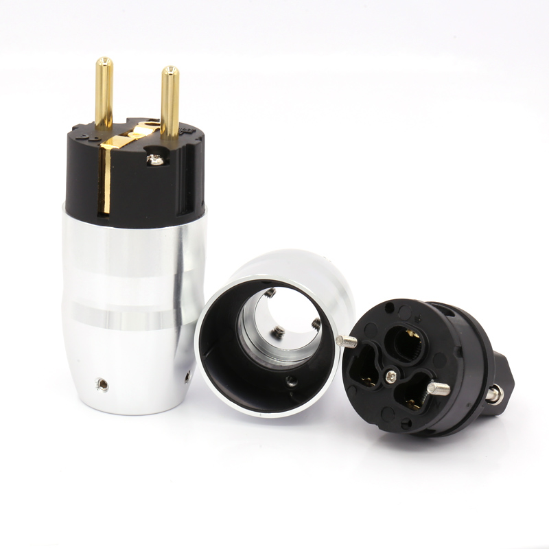 1Pair Gold Plated Schuko Power Plug+IEC Female Connector Audiophile Mains Power Cable Plug купить в Москве 2019