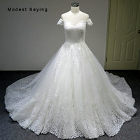 Luxury Ivory Ball Gown Sweetheart Lace Wedding Dresses 2018 Isreal Church Short Sleeve Bridal Gowns Custom Made vestido de noiva