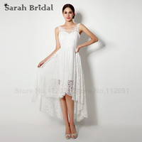 Sexy Sheer Lace Wedding Dresses High Low 2015 Hot V Neck Simple White Lace Beach Bridal Gowns vestido de noiva In Stock SW039