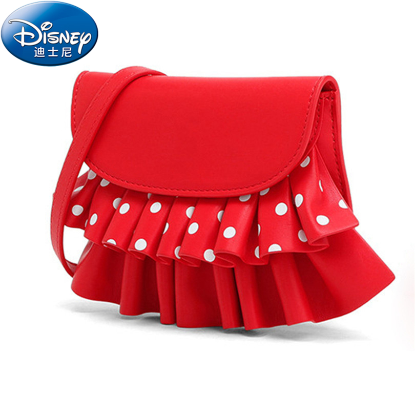 Disney New Cute Mini Bag Children Minnie Handbag For Girls Cartoon White Dot PU Waterproof Should Bag Kids Girls Fashion Bags new children cartoon bags cute elephant mini handbag for girls boys pure cotton animals kids baby bags handmade a limited