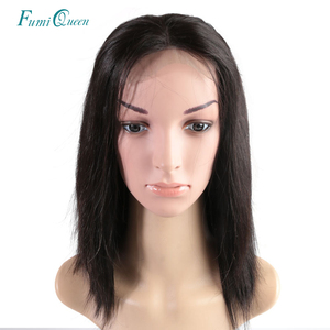 Image 1 - Ali FumiQueen Lace Front Wig With Baby Hair 180%/250% Density Peruvian Straight Non Remy Hair 4x4 Lace Closure wig Free Shipping