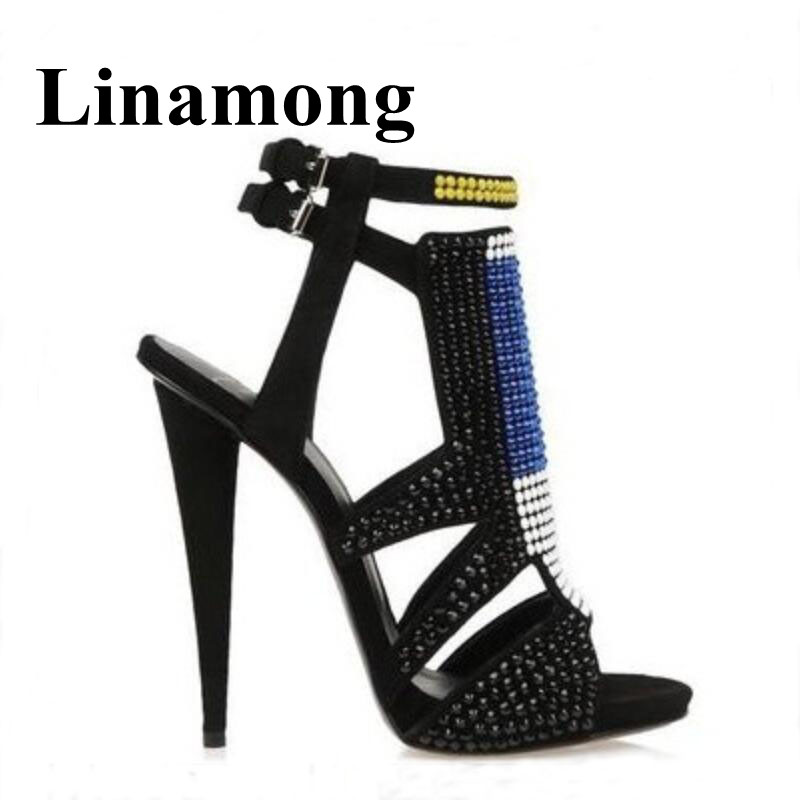 Black Summer Fashion Color Crystal Shoes Women Sandals High Heel Open Toe Buckle Strap Flock Sexy Party Shoes Normal Size недорго, оригинальная цена