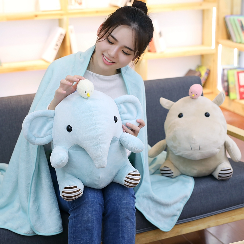 Kawaii Hippo Elephant Plush Toy Stuffed Animal Pillow with Blanket Soft Cushion Home Office Car Nap Pillow Girls Christmas Gift home decor warm comfortable christmas red mesh knitted pillow case and blanket