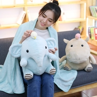 Kawaii Hippo Elephant Plush Toy Stuffed Animal Pillow with Blanket Soft Cushion Home Office Car Nap Pillow Girls Christmas Gift