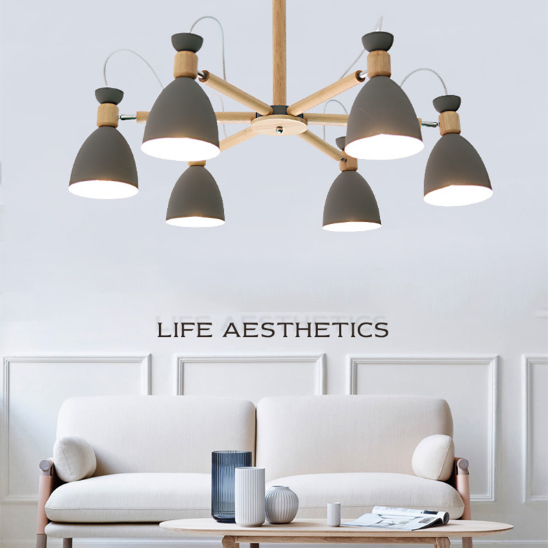 Nordic Modern Minimalist Solid Wood Chandelier E27 220V Kitchen Living Room Bedroom Apartment Bedroom Restaurant Chandelier Lamp