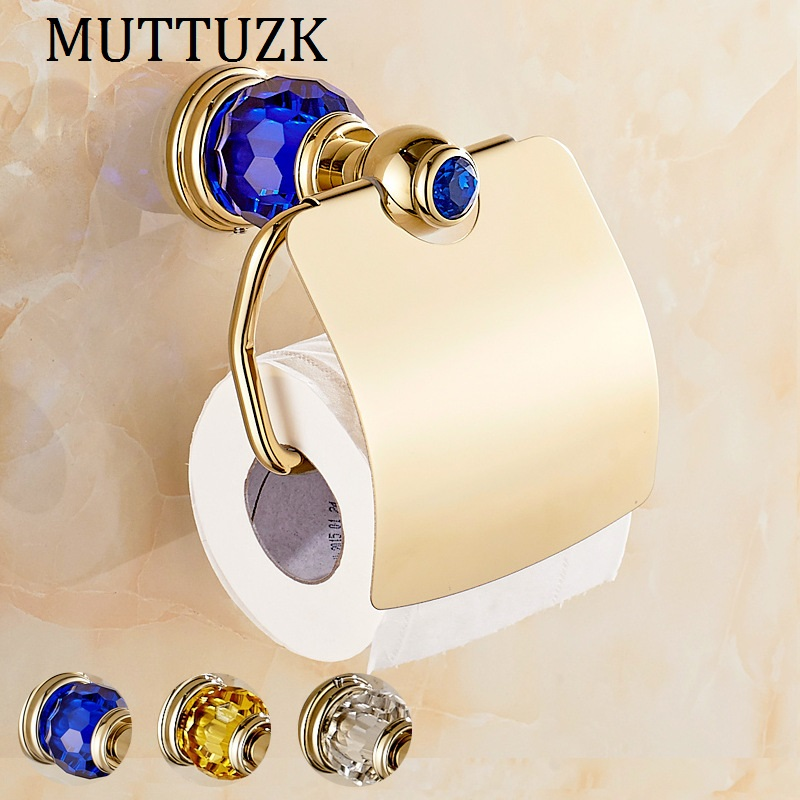 MTTUZK Luxury blue crystal brass gold paper box roll holder toilet gold paper holder with cover tissue box Bathroom Accessories luxury brass gold toilet paper box roll holder bathroom accessories bath hardware crystal metal paper holder