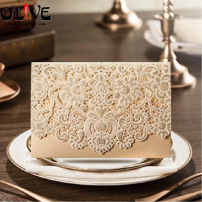 50 Pcs Wedding Invitations Cards Handmade Laser Cut Invitation ...