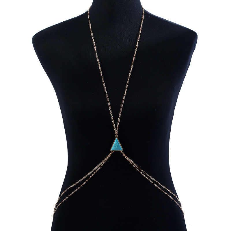 แฟชั่นผู้หญิงสีฟ้าหินอ่อนFauxหินร่างกายเชนR Etroโซ่คู่สำหรับผู้หญิงแฟชั่นซัมเมอร์บีชบิกินี่ร่างกายเครื่องประดับโซ่