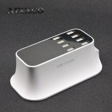 AIXXCO 8 USB Port 8A Smart Charger US EU Plug Led Display Quick Desktop Strip Power