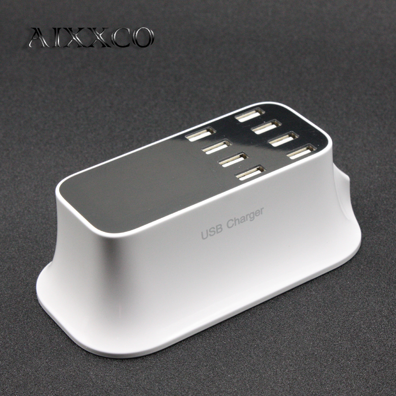 AIXXCO 8 USB Port 8A Smart Charger US EU Plug Led Display Quick Desktop Strip Power Adapter Socket For Mobile Phone Tablet PC