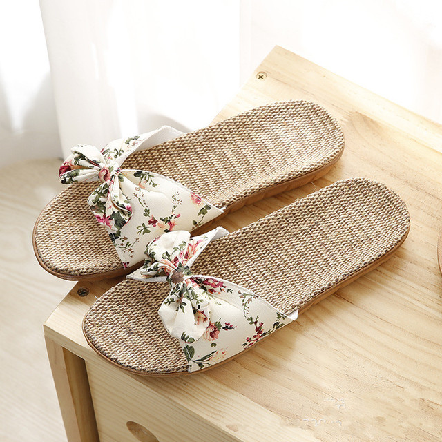 Suihyung New Women Summer Beach Slippers Breathable Linen Flip Flops Female Casual Flax Slippers Sandals Floral Bow Indoor Shoes
