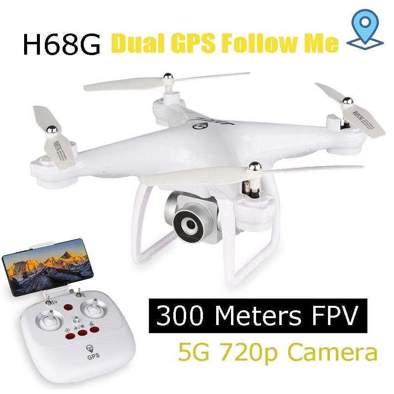 GPS Drone avec 5g 720 p large-angle Caméra 300 mètres WIFI FPV RC Quadcopter avec 15 Minutes temps d'action Mis À Jour H68 Dron Suivre