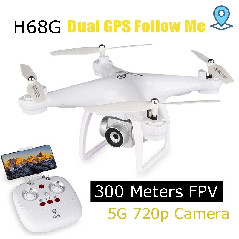 GPS Drone con 5g 720 p wide-angle Camera 300 metri WIFI FPV RC Quadcopter con 15 Minuti tempo di azione Aggiornato H68 Dron