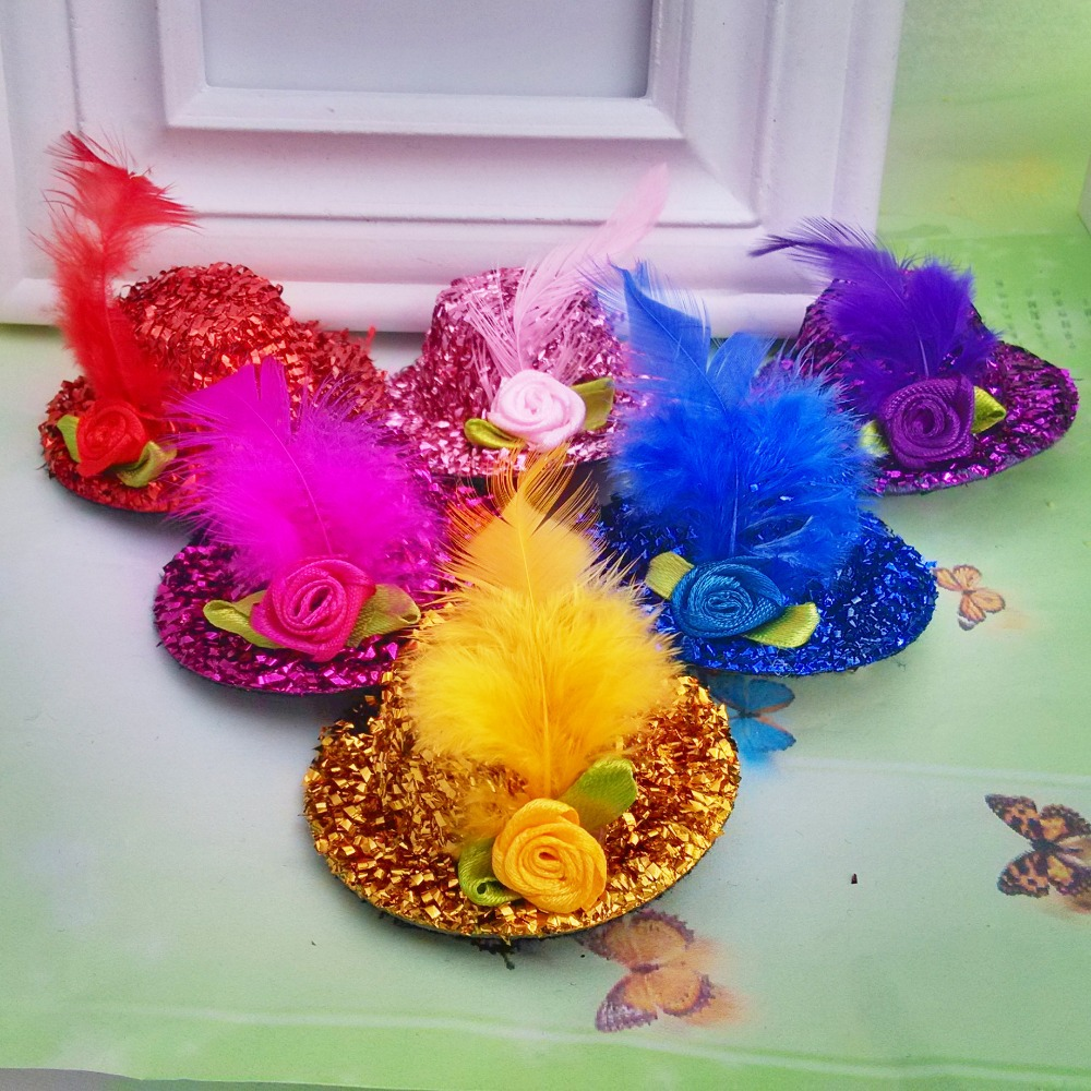 New Fashion Ribbon Flower Cute 5cm Party Cap Hairpins Festival Hat Hair Clip With Fur Children Hair Accessories Baby Hair Clip Complete In Specifications Girl's Hair Accessories