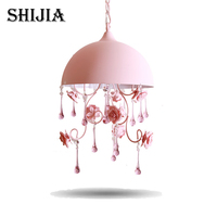 Modern Ceramic Flower Crystal Chandelier Romantic Pink Rose Garden Style Bedroom Creative Princess Pendant Hanging Lamp
