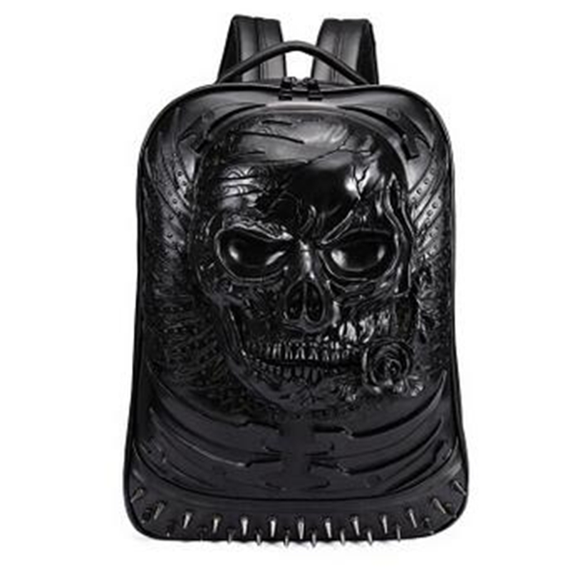 2017 New Punk Fashion Men Personality Travel Backpack Gothic Skull Rivet Motorcycle Ride Laptop Bag Unique 3D Backpack 2017 new steam punk punk street gothic personality hole slim slim female stretch leggings