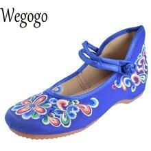 Wegogo смешивания Стиль женская обувь Мэри Джейн в стиле Старый Пекин плоская подошва деним с вышивкой мягкая подошва повседневная обувь размеры 34–41