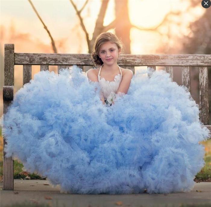 New High Quality Sky Blue Flower Girl Dress for Wedding with Bow Cloud Feather Tiered Kids Girls Birthday Dresses Pageant Gown sky blue tiered see through design plain v neck curve hem camis